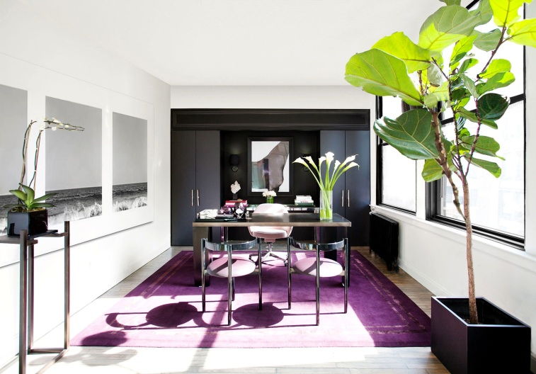 awesome-home-office-design-chic-wood-floor-with-purple-rug-elegant-stainless-steel-table-glamorous-classy-dark-brown-curved-desk-tufted-swivel-chair-glass-simple-x-metal-legs-and-white